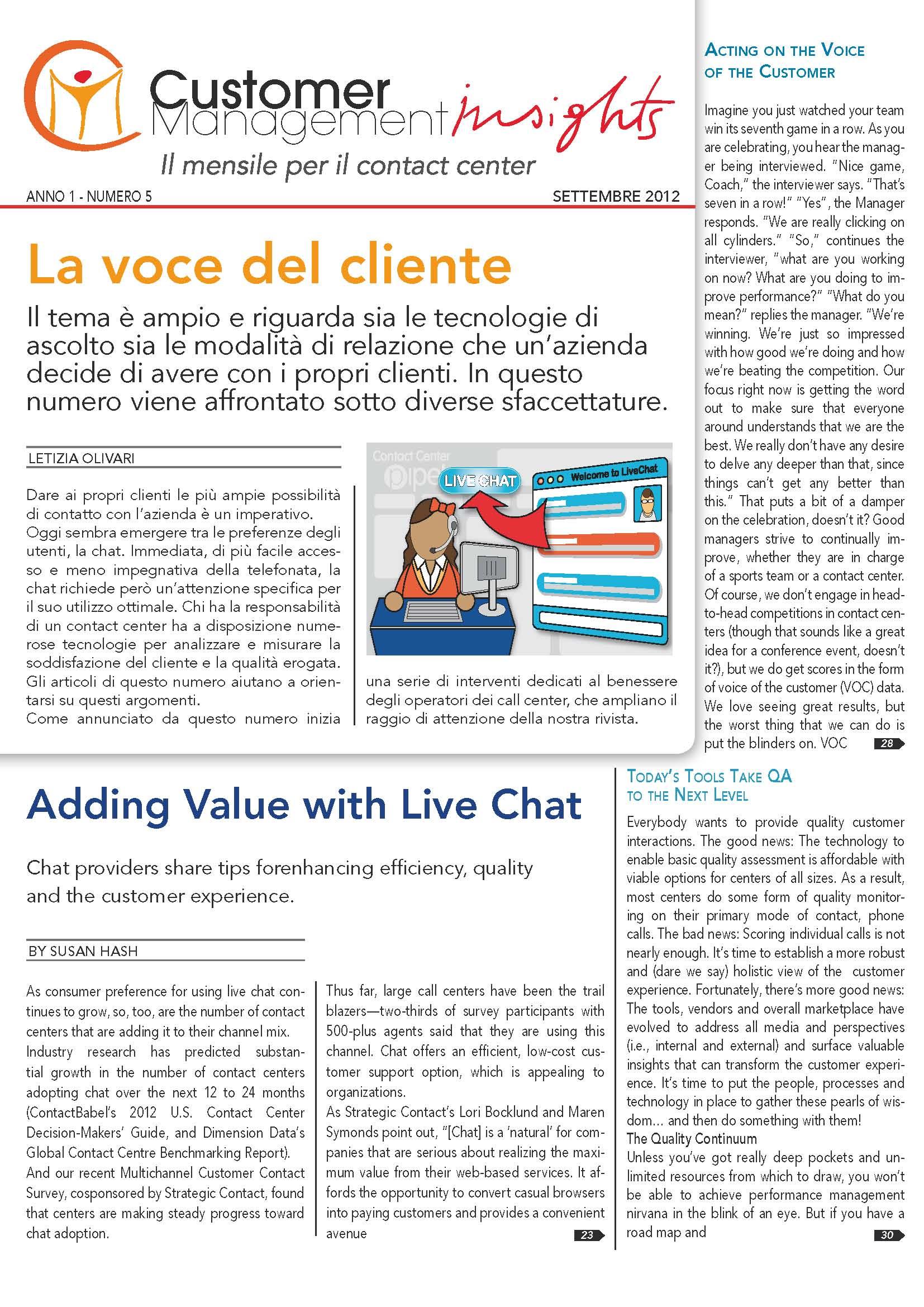 Settembre 2012 – La voce del cliente