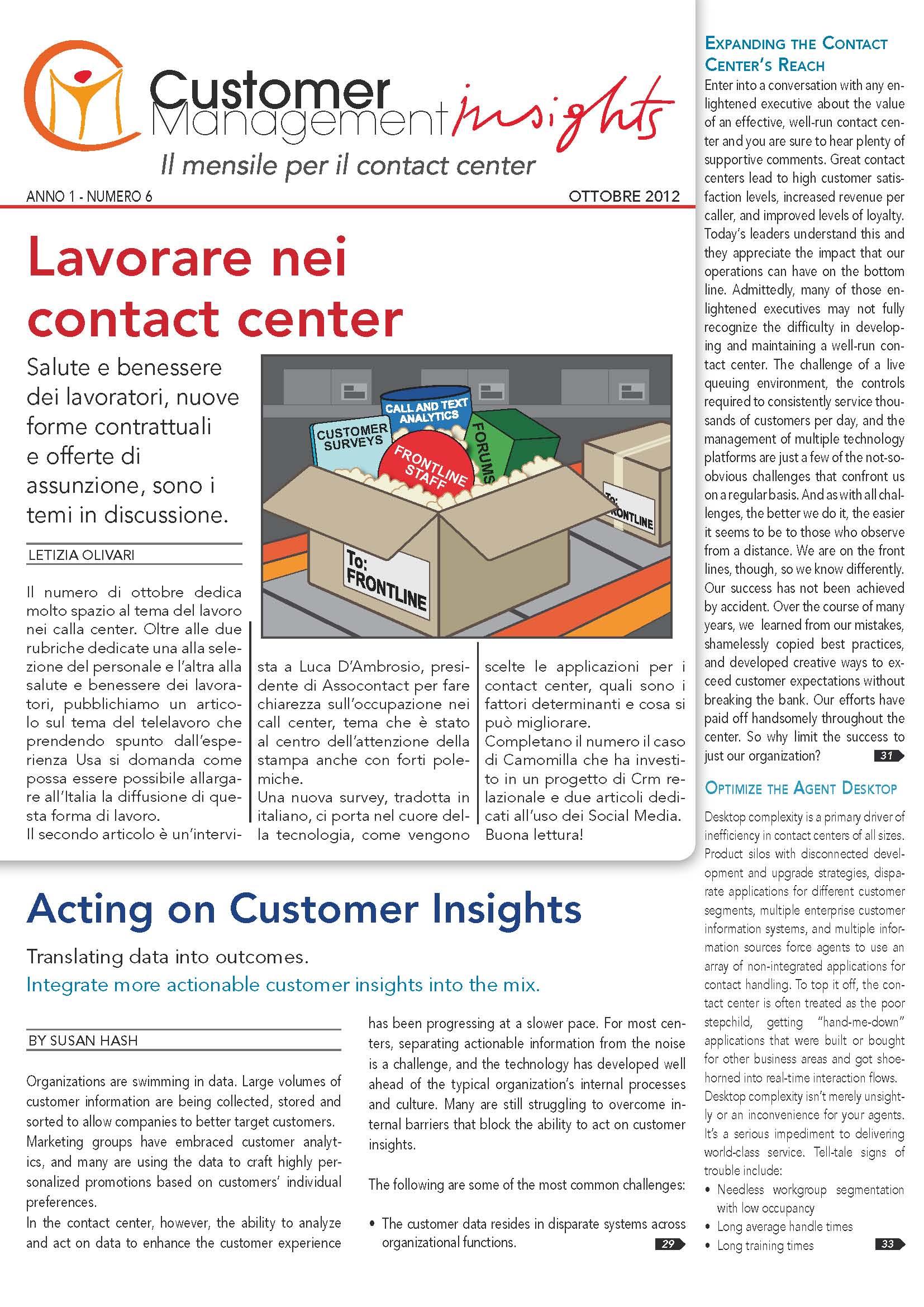 Ottobre 2012 – Lavorare nei call center