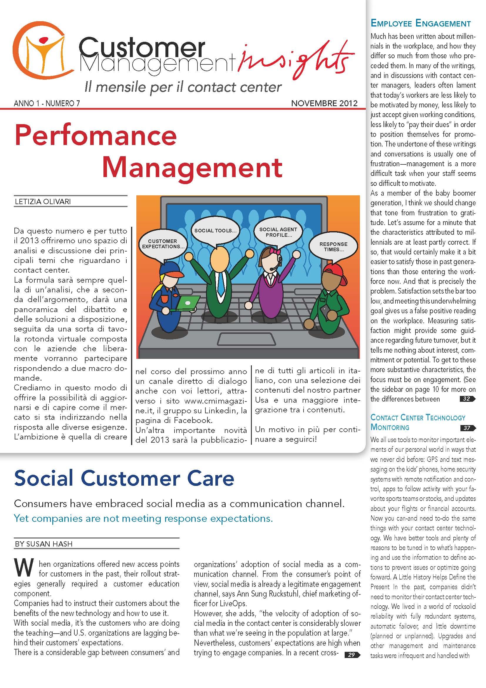 Novembre 2012 – Perfomance Management