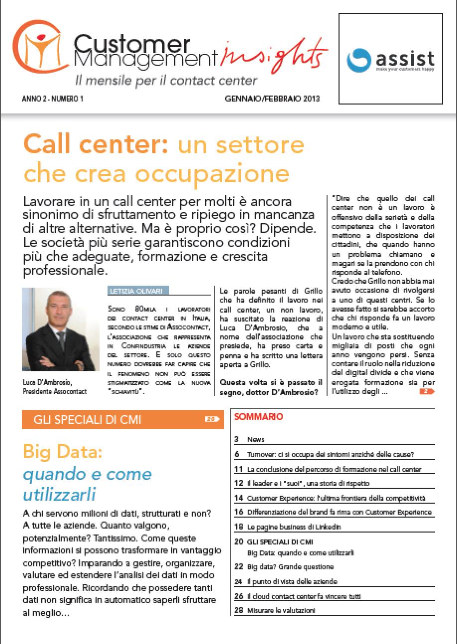 Gennaio- Febbraio 2013 – Call Center un settore che crea occupazione