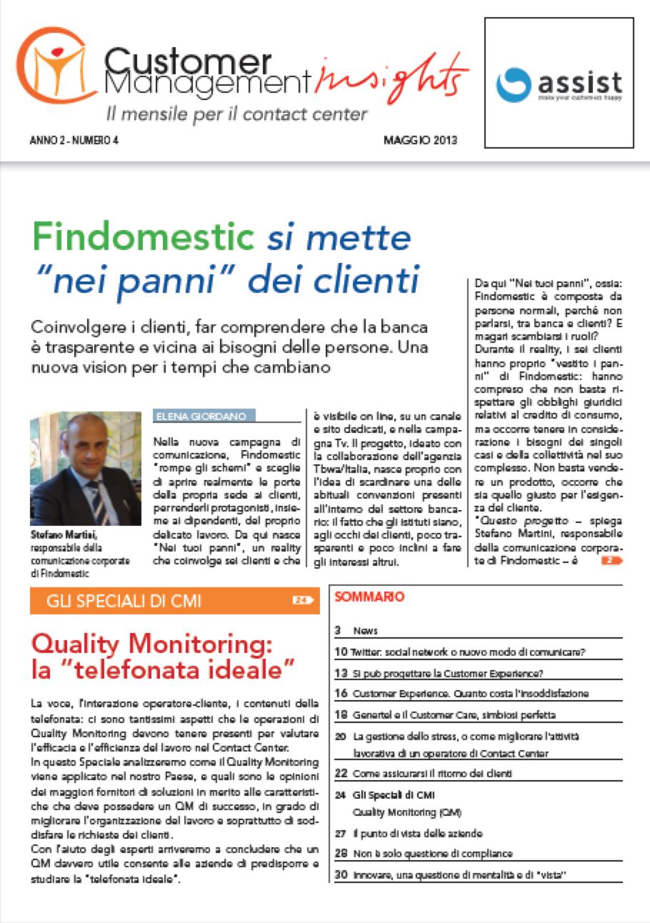 """Maggio 2013 – Findomestic si mette nei """"panni"""" dei clienti"""