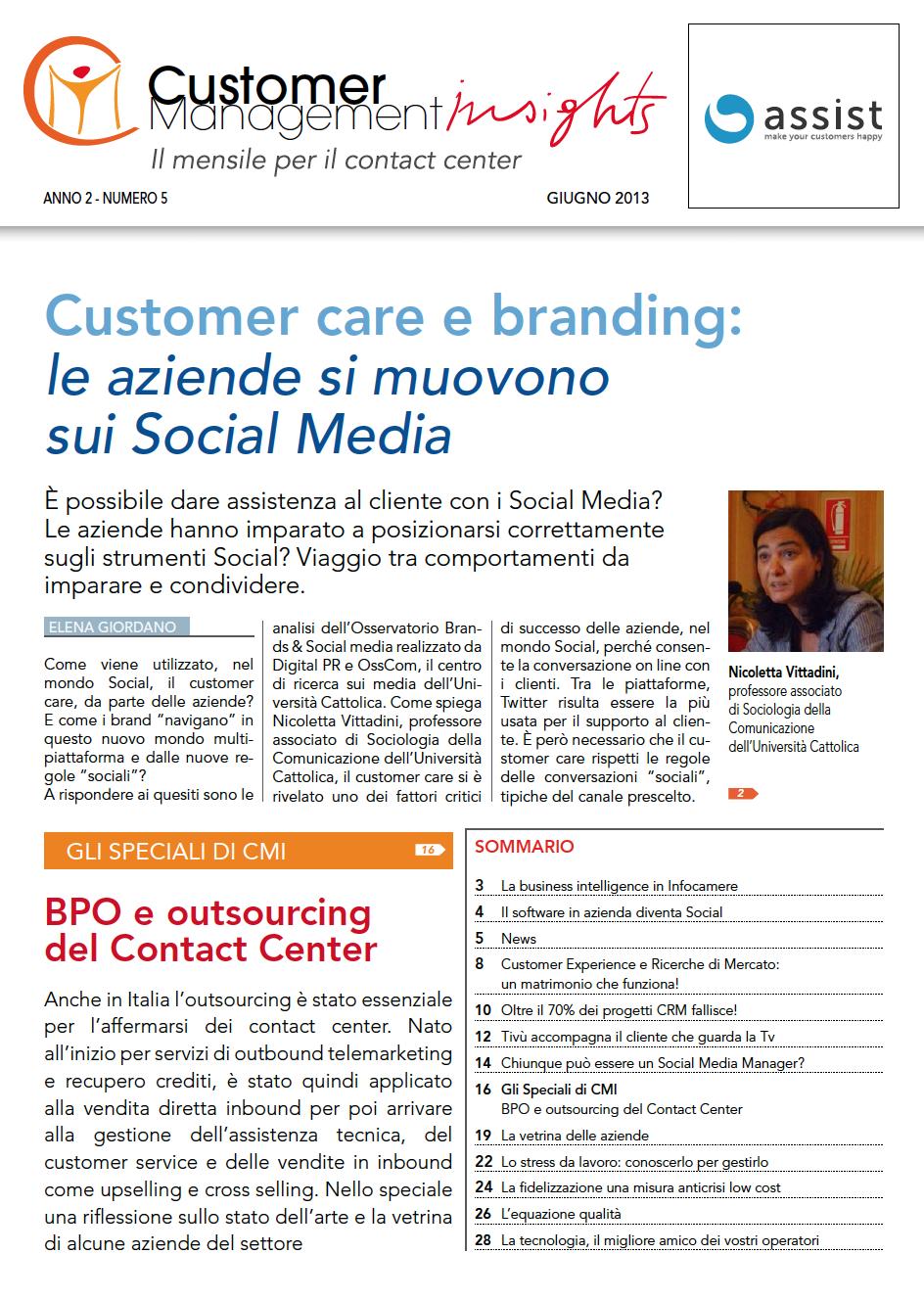 Giugno 2013 – Customer care e Branding