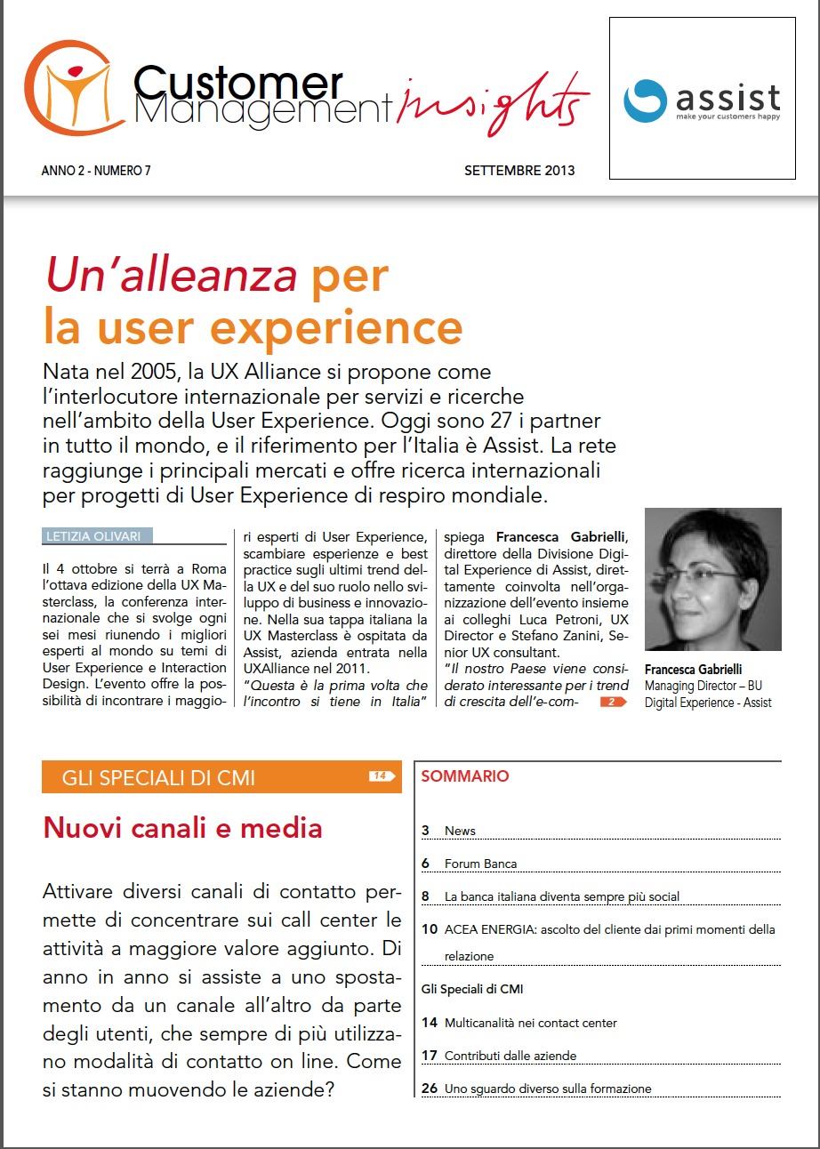 Settembre 2013 – Un'alleanza per la user experience
