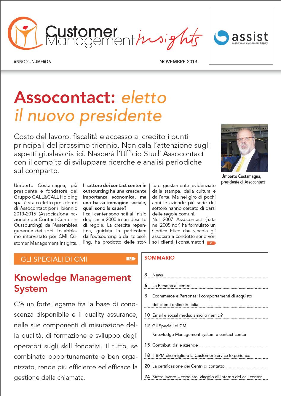 Novembre 2013 – Assocontact nuovo presidente