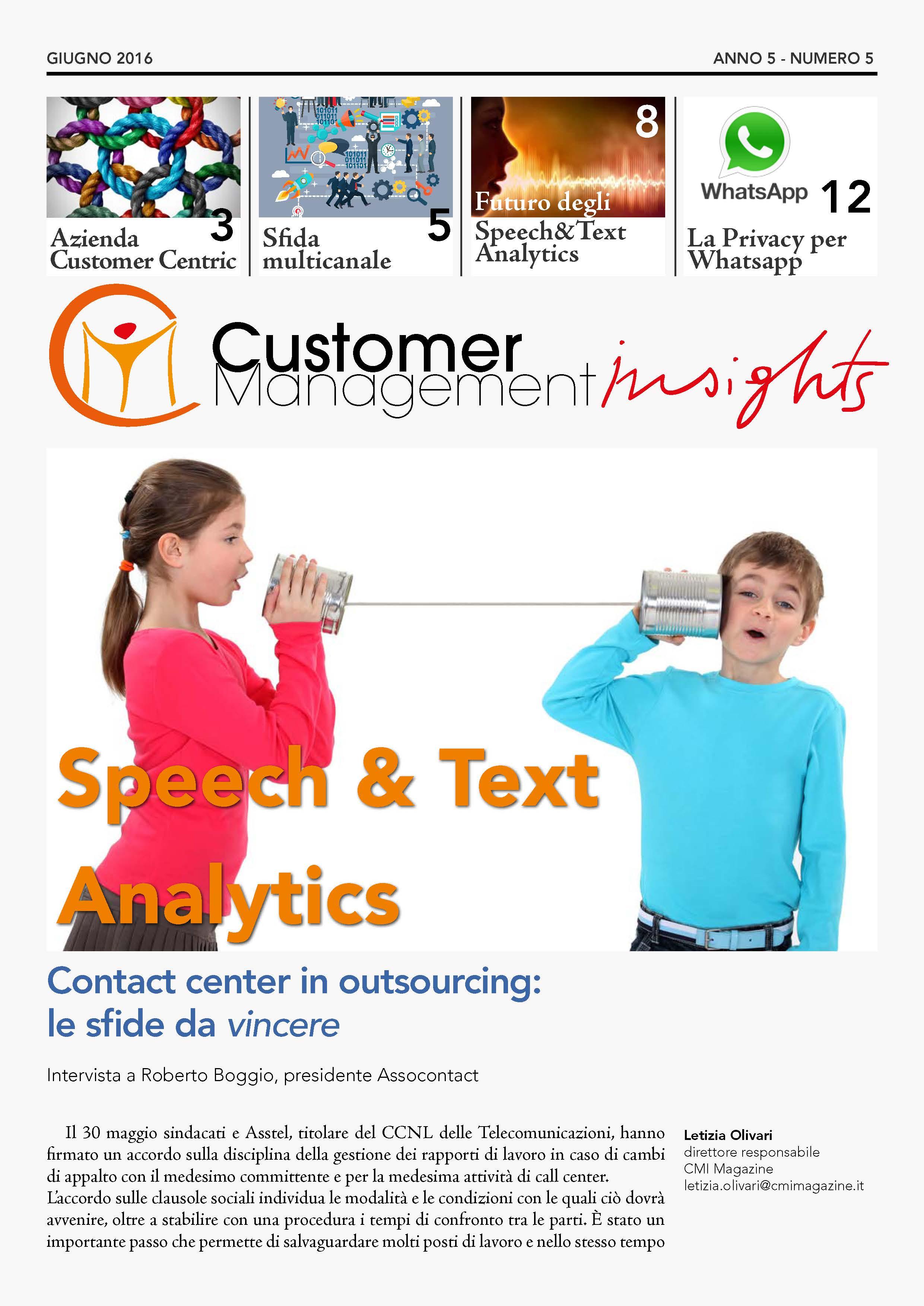 Speech & Text Analytics – CMI anno 5 n.5