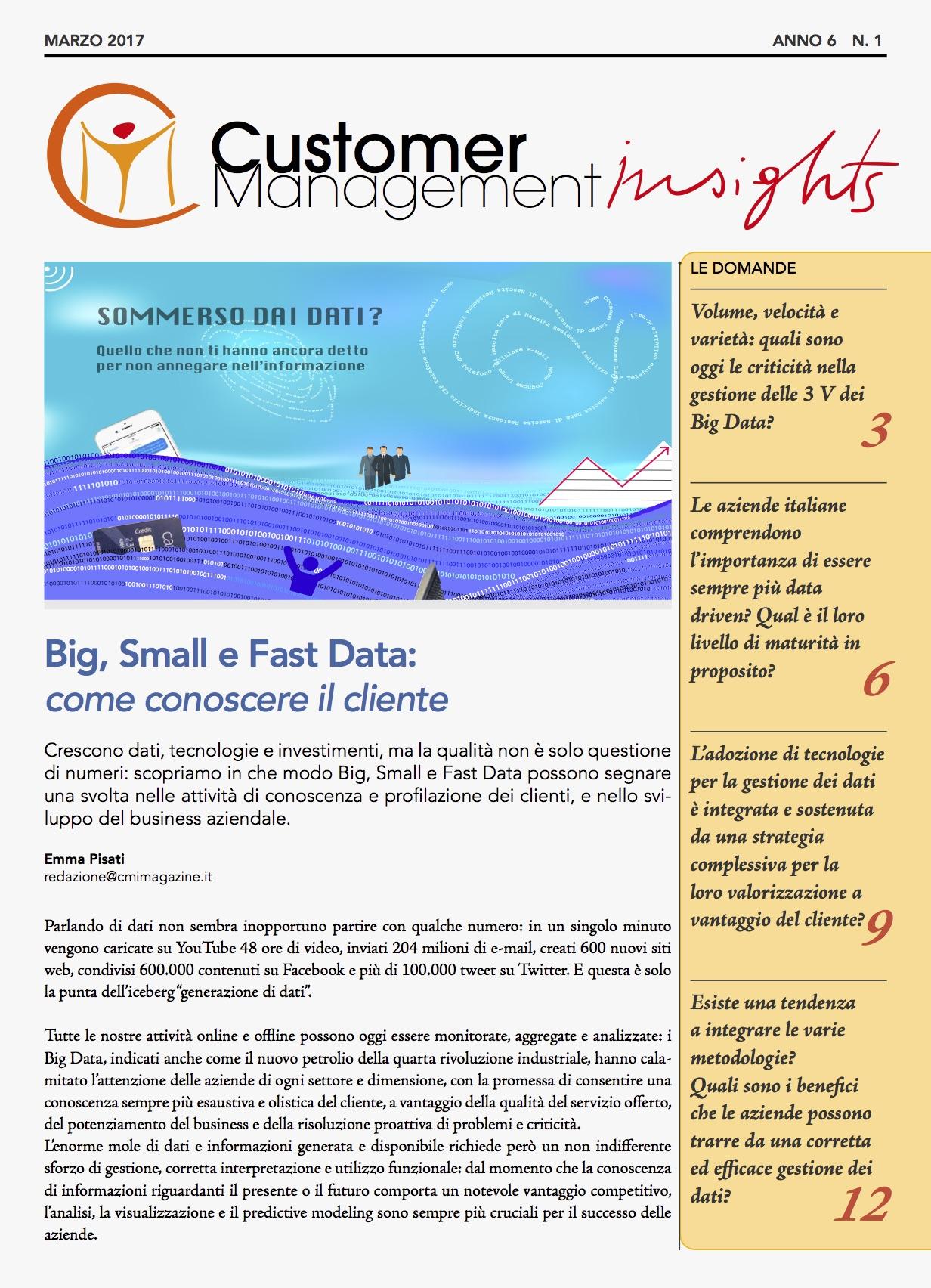 Big, Small e Fast Data: come conoscere il cliente – CMI anno 6 n. 1