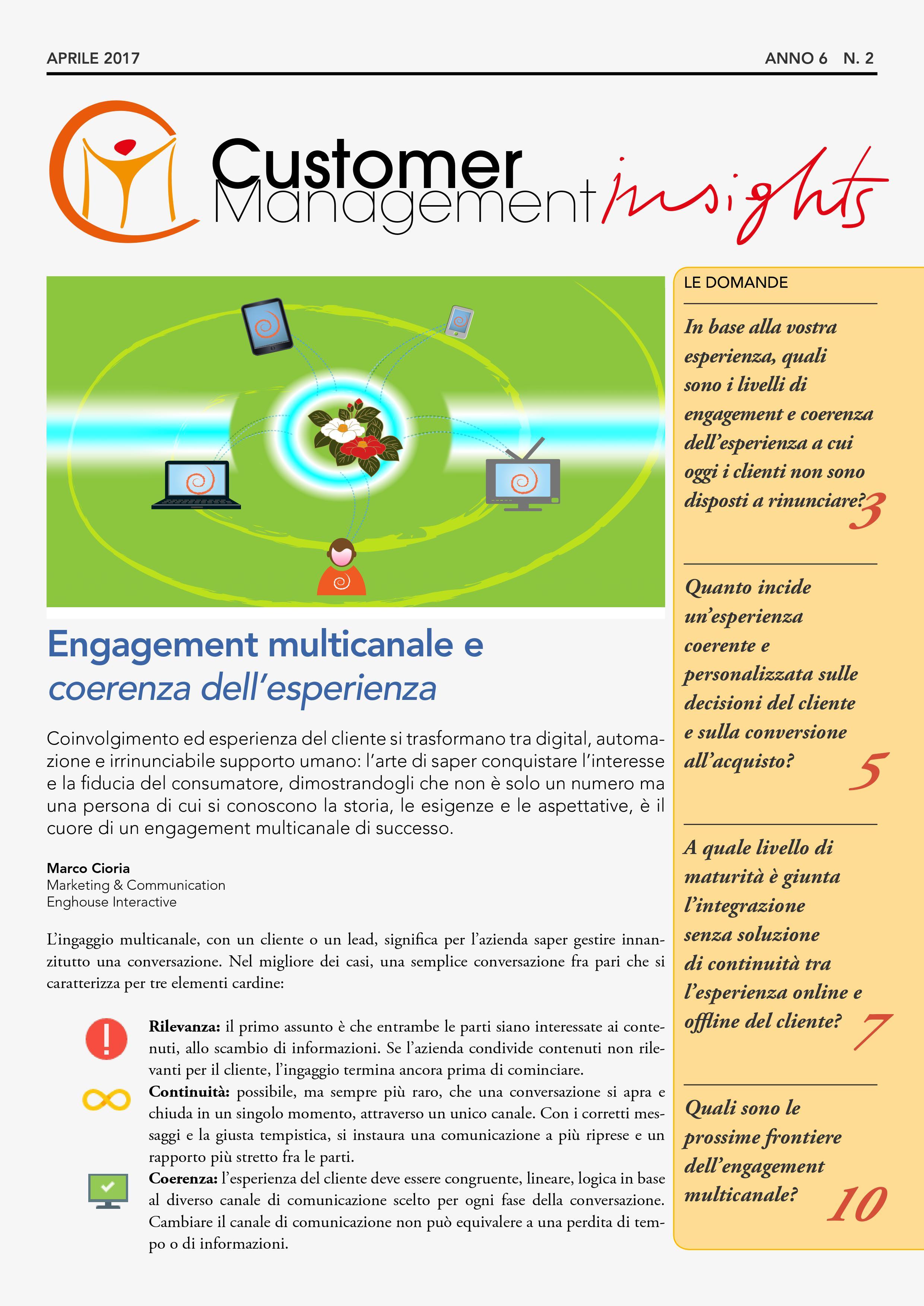 Engagement multicanale e coerenza dell'esperienza – CMI anno 6 n. 2