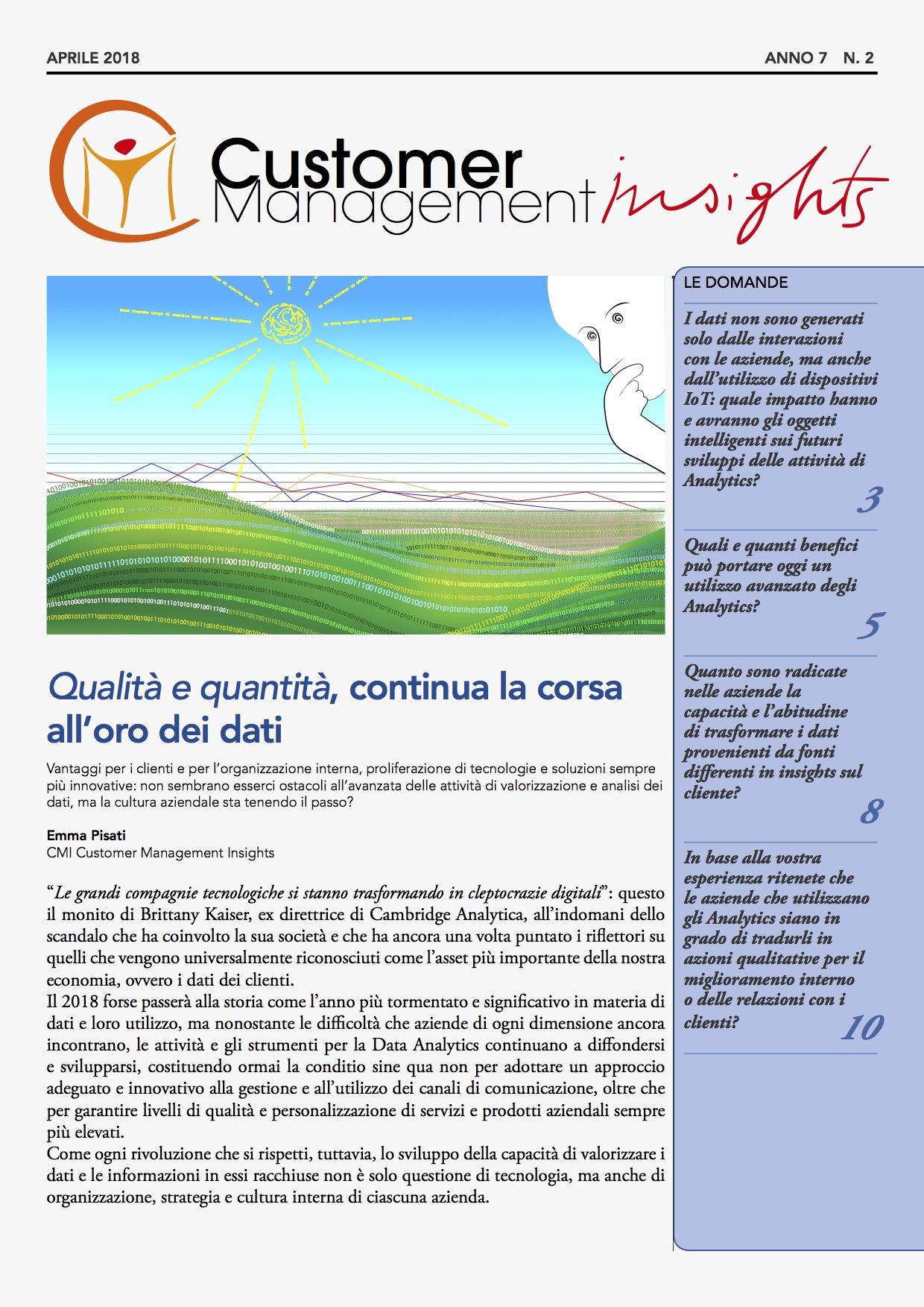 Analytics: come conoscere il cliente – CMI anno 7 n. 2