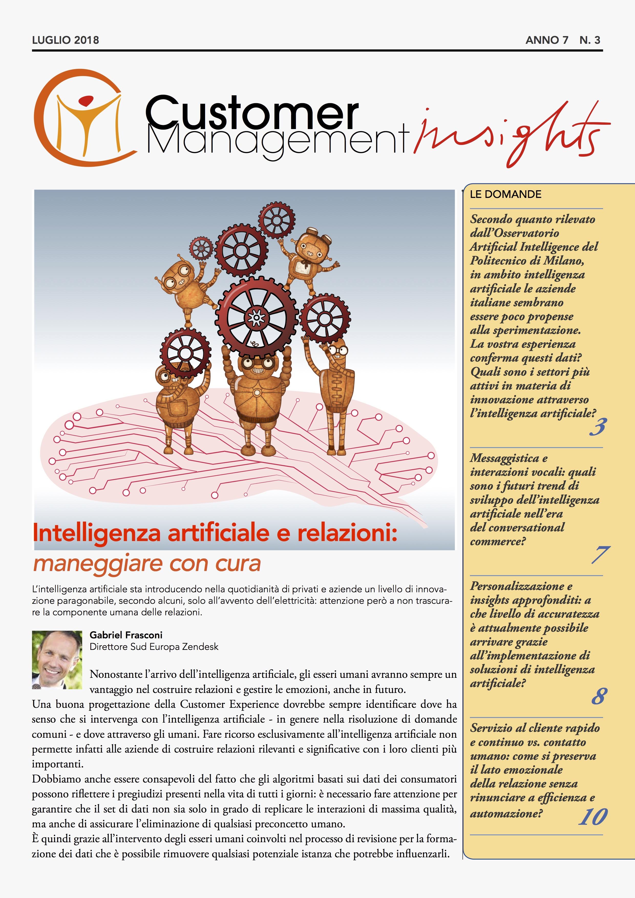 Intelligenza artificiale nella relazione con il cliente – CMI anno 7 n. 3