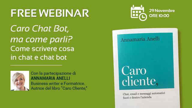 La scrittura, la cura del cliente e i chat bot, in diretta nel webinar di Pat Group.