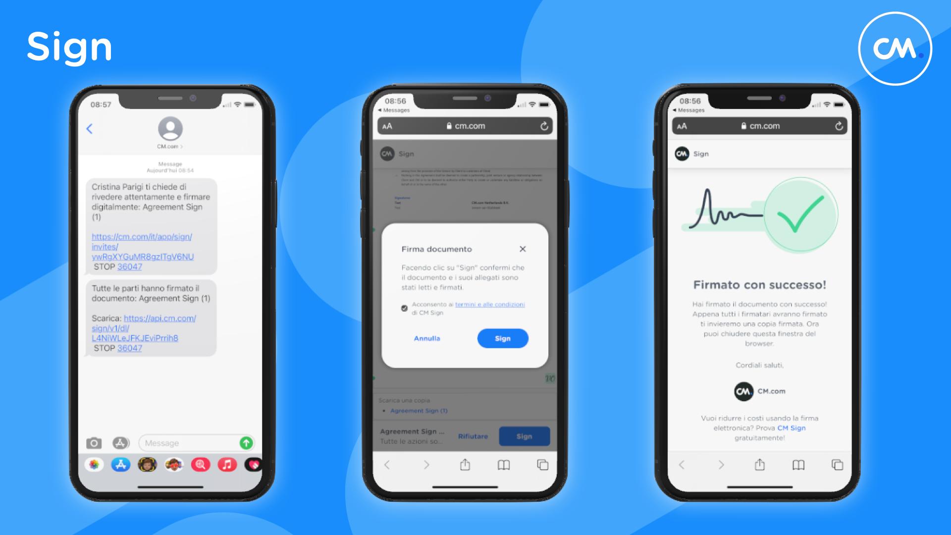 CM.com rende disponibile la firma elettronicaanche tramite SMS